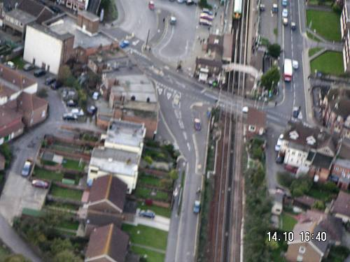 Aerial view railway town centre lancing